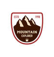 mountain explorer emblem template with rock peak vector image vector image