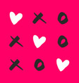 noughts and crosses with love on pink background vector image vector image