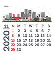 november 2020 calendar template with oslo city vector image vector image
