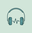 over-ear headphones with sound wave icon vector image vector image