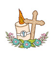 paschal candle sacred with cross vector image vector image