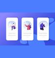people enjoying snowfall mobile app page onboard vector image