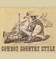 postcard cowboy is sleeping vector image vector image