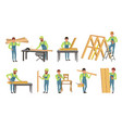 professional carpenters characters set men in vector image vector image