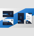 professional set blue geometric business card vector image vector image