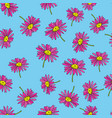pyrethrum daisy seamless pattern blue background vector image