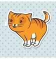 Red cute funny cat stand vector image vector image