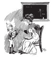 schoolteacher and young boy chalkboard vintage vector image vector image