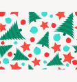 seamless pattern christmas tree and christmas vector image vector image