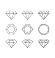 set diamonds isolated on a white background vector image vector image