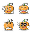 set of pumpkin character cartoon style vector image vector image