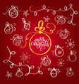 set of vintage flourish doodle christmas balls vector image