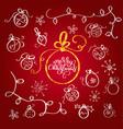 set of vintage flourish doodle christmas balls vector image vector image