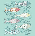 set stylized fishes collection of vector image vector image