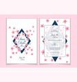 set template cherry blossom wedding invitation vector image