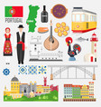 set with portuguese symbols and landmarks vector image vector image