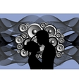Silhouette of boy and girl on abstract music vector image