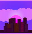 skyline wallpaper with skyscrapers in sunset or vector image