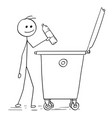 smiling man throwing plastic bottle in to waste vector image