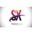 sx s x purple letter logo with swoosh design vector image vector image