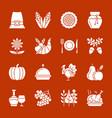 Thanksgiving day white silhouette icon set