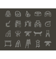 White line style furniture icons set vector image vector image