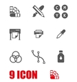 white polygraphy icon set vector image vector image