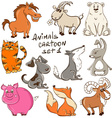 Set Of Cartoon Wild And Domestic Animals vector image
