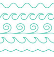 turquoise line waves set on white vector image