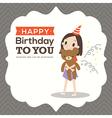 Happy birthday card with a girl hugging teddy bear vector image