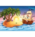 the island with a pirate ship vector image