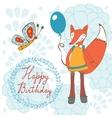 Adorable Happy birthday card with beautiful fox vector image vector image