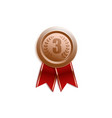 award badge for third place with red ribbon vector image vector image