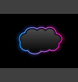 black and glowing neon cloud hi-tech background vector image vector image