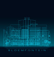 bloemfontein skyline detailed silhouette vector image