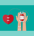 blood bag and hand of donor with heart vector image vector image