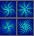 Blue spiral and ray burst background design set vector image vector image