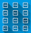 calendar month set icon on blue background flat vector image vector image