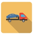 Car Evacuation Flat Rounded Square Icon with Long vector image vector image
