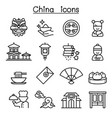 china icon set in thin line style vector image vector image
