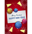 christmas tree balls on happy new year greeting vector image