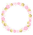 circle frame of pink and golden flowers vector image