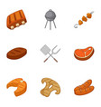 cooking on barbecue icons set cartoon style vector image vector image