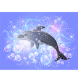 dolphin swims vector image vector image