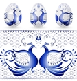 Easter egg with a pattern of stylized gzhel Blue vector image