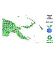 eco green mosaic papua new guinea map vector image vector image