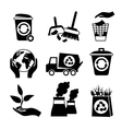 Ecology icon set black and white vector image vector image