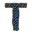 Farmerke tekstura slovo T resize vector image