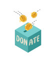 fundraising in donation box donate finance vector image