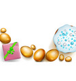 golden easter eggs cake and gift box on white vector image vector image